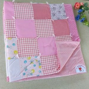 Handmade Baby Quilt Pink Gingham Vintage Style EUC